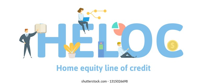 HELOC, Home Equity Line of Credit. Concept with keywords, letters and icons. Colored flat vector illustration. Isolated on white background.
