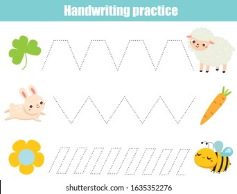 Help animals find food. Handwriting practice sheet. Educational children game. Tracing lines. Basic writing worksheet for kids