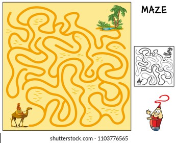 Help the caravan of camels to go through the desert to the oasis. Educational maze game for children. Cartoon vector illustration