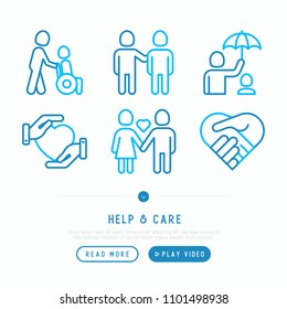 Help and care thin line icons set: symbols of support, help for children and disabled, togetherness, philanthropy and donation. Vector illustration.
