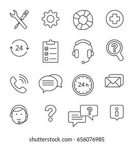 Help center: thin monochrome icon set, black and white kit