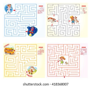 Help the character to find a way out of the maze. Set logical games. Maze Game with Solution. Tangled lines. Funny cartoon character. Vector illustration. Isolated on white background