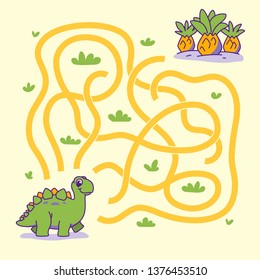 Help cute dino find the right path to plant. Labyrinth. Maze game for kids. Vector illustration.