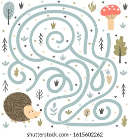 Help the cute hedgehog find the way to the mushroom. Maze game for kids. Forest labyrinth for children. Vector illustration