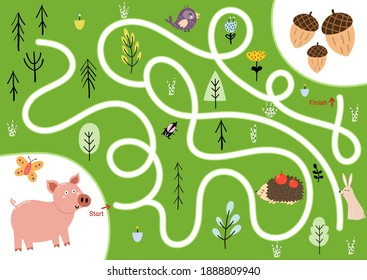 Help the cute hungry pig find path to acorns. Choose the correct way maze puzzle for kids. Funny labyrinth game. Vector illustration