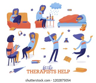 Help in depression set - young woman oversleeping, overeating, drinking alone, talking to therapist, psychologist and becoming happy again, flat style vector illustration isolated on white background