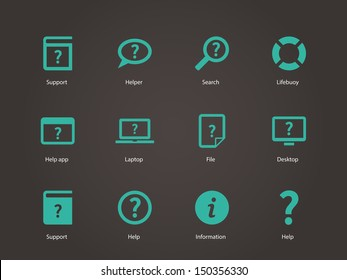 Help and FAQ icons. Vector illustration.