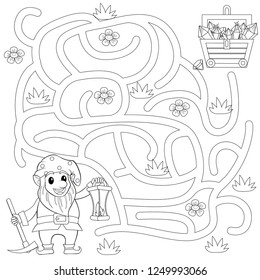 Help gnome find path to treasure chest . Labyrinth. Maze game for kids. Black and white vector illustration for coloring book