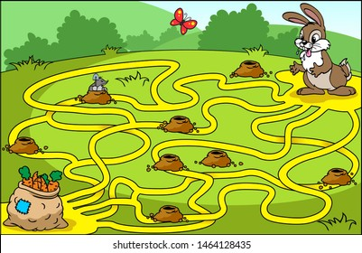 Help the hare to find his way to the bag of carrots. Educational game for children. Vector illustration