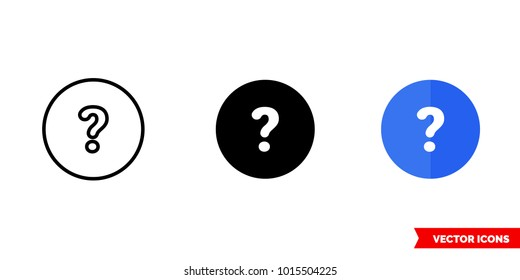 Help icon of 3 types: color, black and white, outline. Isolated vector sign symbol.