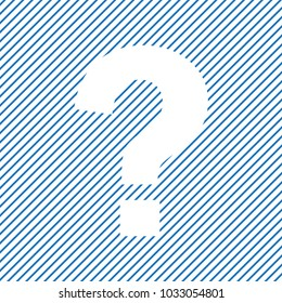 Help icon. Question mark sign on blue striped background. Vector illustratin