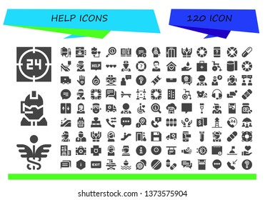 help icon set. 120 filled help icons.  Simple modern icons about  - Support, Caduceus, Call center, Transfusion, Elevator, Blood transfusion, Info, Manual, Chat, Customer service