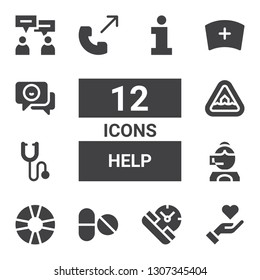 help icon set. Collection of 12 filled help icons included Give love, Service, Pills, Lifesaver, Call center, Phonendoscope, Flood, Phone call, Nurse, Chat, Information