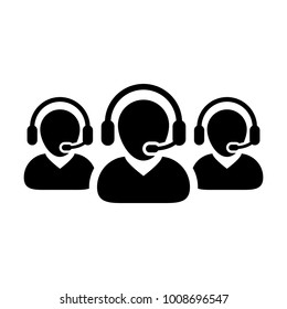 Help Icon Vector Male Group of People for Call Center Online Support Services for Customers with Headset in Glyph Pictogram Symbol illustration