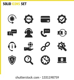 Help icons set with operator help, loupe help and safety elements. Set of help icons and repair concept. Editable vector elements for logo app UI design.