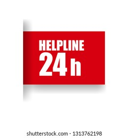 Help Line 24 hours red banner,Tag, Sticker, Sign