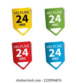 Help Line 24 hours Tag, Sticker, Sign, Logo, Symbol and Label.
