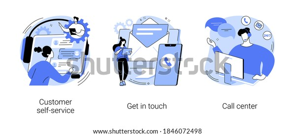 Help line abstract concept vector illustration set. Customer self-service, get in touch, call center, online assistance, FAQ, e-support system, live chat, virtual service point abstract metaphor.