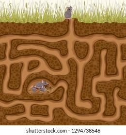 Help the little mouse find his family in the hole. Children's game picture puzzle with a labyrinth.