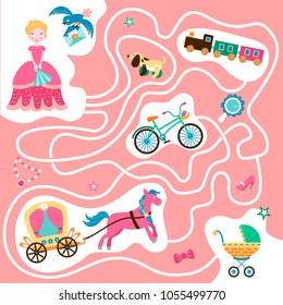Help the little princess find carriage with a horse to go to the ball. Maze game. Developing game for children.