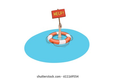 Help me in danger situation, life buoy and hand under the water vector illustration