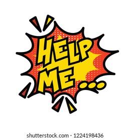Help me text comic book vector