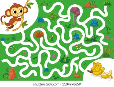 Help the monkey to rich the bananas. Vector illustration puzzle game for kids.