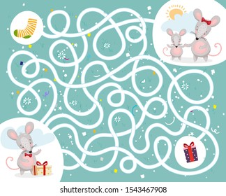 Help the mouse find the way home. Children s educational game labyrinth with cute animals. Puzzle maze. Flat vector design.