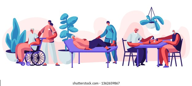 Help Old Disabled People in Nursing Home. Social Worker Community Care of Sick Seniors on Wheelchair, Skilled Nurse Residential Healthcare, Physical Therapy Service. Cartoon Flat Vector Illustration