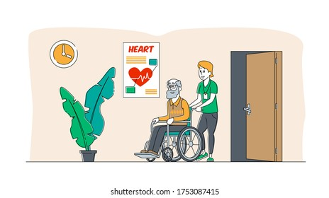 Help Old Disabled People in Nursing Home. Young Nurse Social Worker Care of Sick Senior Driving on Wheelchair, Skilled Nurse Residential Healthcare, Medical Aid. Linear Characters Vector Illustration