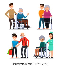 Help old disabled people. Social worker of volunteer community helps elderly citizens at home and sick character patients on wheelchair, nurse caring senior with cane colorful vector set icon