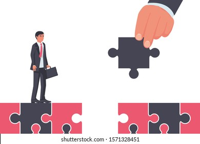 Help to overcome. A businessman is building a bridge to help his partner. Help is on the way. Teamwork concept. Solved the problem of overcoming. Vector illustration flat style design.