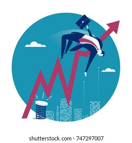 Help to overcome. Illustration of a manager jumping over rising arrow symbol.