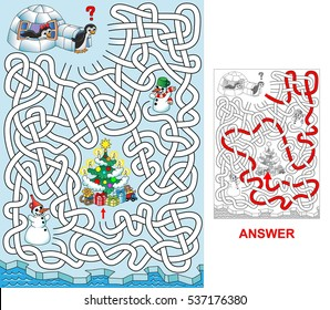 Help penguins to find a path to Christmas tree. Labyrinth for kids. Variant with zigzag labyrinth (portrait).