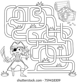 Help pirate find path to treasure chest . Labyrinth. Maze game for kids. Black and white vector illustration for coloring book