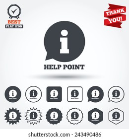 Help point sign icon. Information symbol. Circle, star, speech bubble and square buttons. Award medal with check mark. Thank you ribbon. Vector