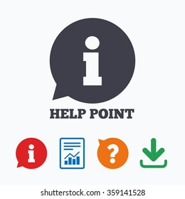 Help point sign icon. Information symbol. Information think bubble, question mark, download and report.