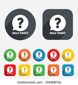 Help point sign icon. Question symbol. Circles and rounded squares 12 buttons. Vector