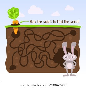 Help the rabbit to find the carrot! Vector maze game.
