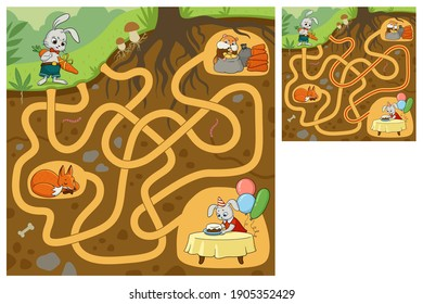 Help the rabbit to get to the birthday party. Find the right path. Maze game. Cartoon vector illustration. Education game for children.