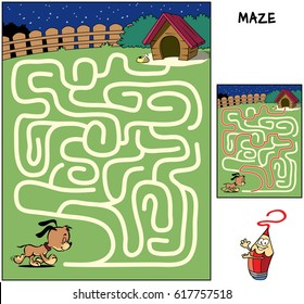 Help the sleepy puppy to reach his doghouse. Educational maze game for children. Cartoon vector illustration