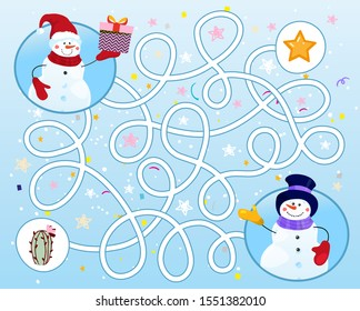 Help the snowman find the way in the maze. Puzzle game for children on a winter background. A simple educational game for kindergarten, school, leisure. Flat illustration. Cartoon stock vector.