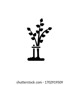 Help and Support Disabled Tree, Care Plant. Flat Vector Icon illustration. Simple black symbol on white background. Help Plant, Support Disabled Tree sign design template for web and mobile UI element