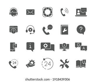 Help and support glyph icon set. Simple solid style symbol for web template and app. Online service, call center, contact phone concept. Vector illustration isolated on white background. EPS 10