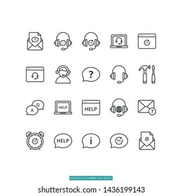 Help And Support Icon Set Vector Illustration Logo Template For Website Or Mobile App.