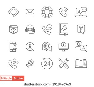 Help and support line icon set. Simple outline style symbol for web template and app. Online service and call center concept. Vector illustration isolated on white background. Editable stroke EPS 10