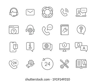 Help and support line icon set. Simple outline style symbol for web template and app. Online service, call center, contact phone concept. Vector illustration isolated on white background. EPS 10