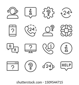 Help and support line icons set vector illustration