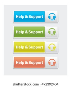Help an support. Set of web interface vector multicolor buttons.