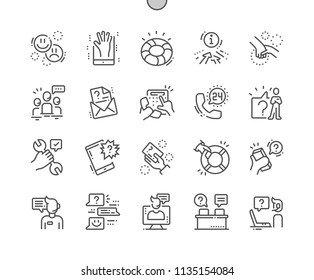 Help and Support Well-crafted Pixel Perfect Vector Thin Line Icons 30 2x Grid for Web Graphics and Apps. Simple Minimal Pictogram